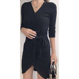 Black Knitted Wrap Dress