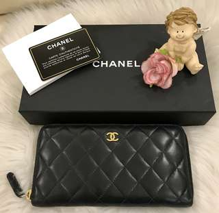 Authentic CHANEL Black Quilted Lambskin Leather Zip-Around Long Wallet