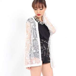 YHF Embroidery Shrug in White