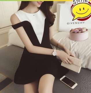 黑白 棉質設計感洋裝