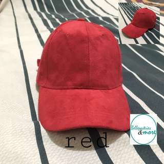 red suede baseball cap