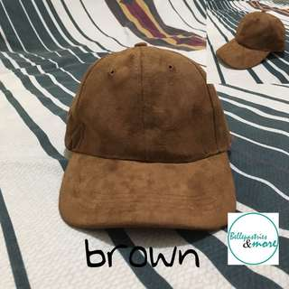 brown suede baseball cap