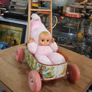 Antique Baby Doll & Stroller