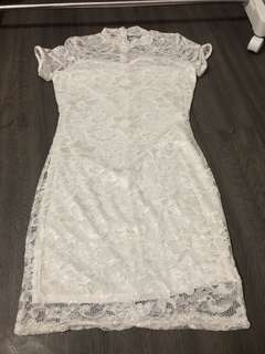White chinese collar lace dress