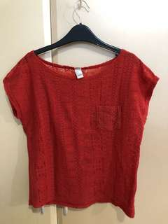 Forever21 sheer red top