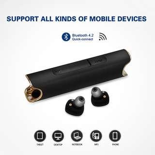 藍芽雙耳無線耳機 IPX7防水 可作外置電池 分離式真無線耳機 金屬拉絲質感 NCC形式認證 bluetooth handsfree earphone