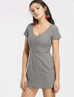 gingham/checkered a line dress