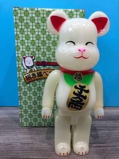🐻 Bearbrick Lucky Fortune Cat GLOW In THE DARK 400% ( HK AAA )