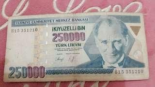 Mata uang turki 250.000 th 1970