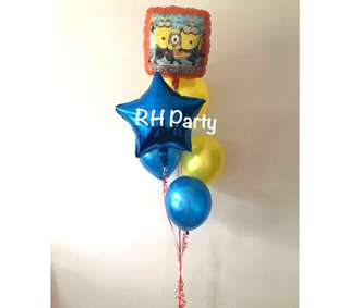 (26/5) Include helium despicable me minion happy birthday star foil balloon bouquet