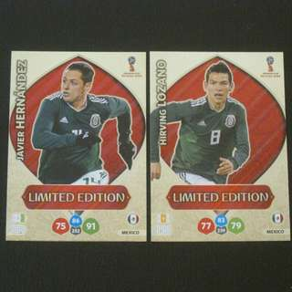 2018 World Cup Russia Panini Adrenalyn Limited Edition - Javier HERNANDEZ / Hirving LOZANO #Mexico