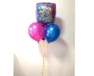 (26/5) include helium happy birthday shimmer and shine foil balloon latex bouquet