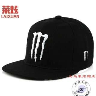 black monster cap White logo