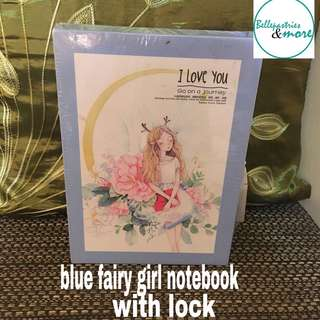 blue fairy girl notebook with lock