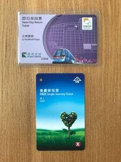 MTR tickets $10 兩張已包本地平郵 (沒票值,只限郵寄)