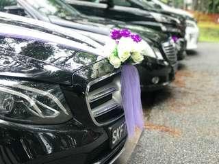 Wedding Car With Escort Cars