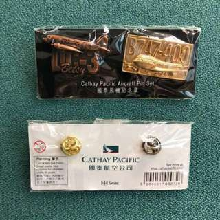 絶版 Cathay Pacific Aircraft Pin Set CX Fleet 國泰飛機紀念章襟章 DC-3 & B747