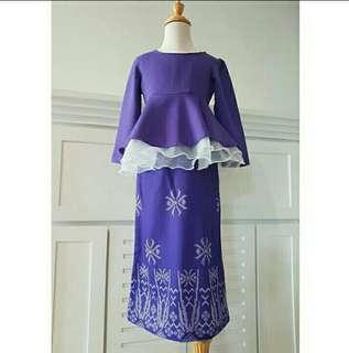 (1-4yr) Baju Kurung Peplum Organza Biru