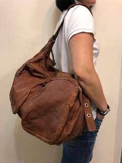 啡色真皮 Vintage 手袋