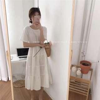 🚚 收腰浪漫連身白裙(穿過一次)