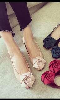 全新粉紅裸色立體玫瑰花朵女鞋 楔型鞋 婚鞋