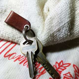 Handmade veg-tan Mini Key Fob