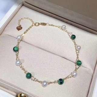 🍭最美夏季新品💞💞 天然孔雀石石與珍珠的完美結合😻😻5.5-6mmAkoya手鍊💁🏼♀️ 雍容典雅的組合~美的❤️不止一點點!