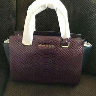 MICHAEL KORS Selma Embossed Leather Satchel FROM U.S.A