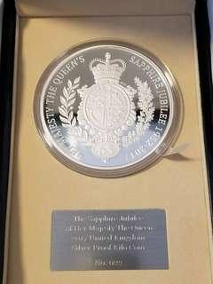 皇家鑄幣局-壹公斤純銀《英女皇登基65周年藍寶石禧》精装紀念幣