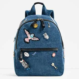 AUTHENTIC ZARA BACKPACK DENIM PATCHES BAG