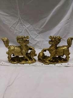 一對五吋銅獅子擺件