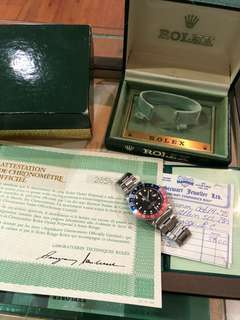 1970 Vintage Rolex GMT Master 1675 Mark 1 Long E Dial Full Set Box & Papers