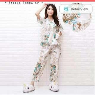 GROSIR Pajamas Katun Jepang CP Flower Batika Tosca