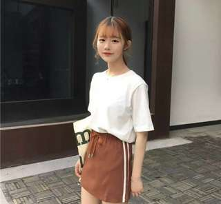 (INSTOCK) ULZZANG BROWN JERSEY SKIRT