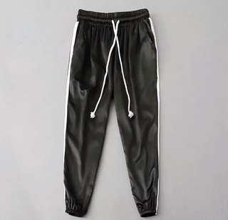 black satin sweatpants