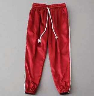 red satin sweatpants