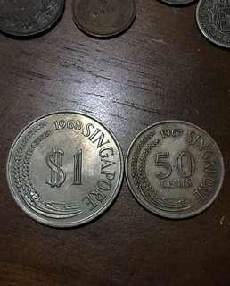 AU原光 1967 68年 新加坡 $1 及 50cents