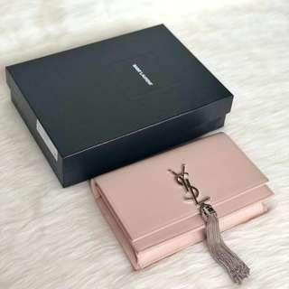 YSL Kate WOC in Light Pink w/ Silver Tassel Size 20cm x 13cm x 5cm