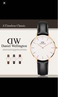 Daniel Wellington DW 32mm classic white petite black Sheffield leather strap