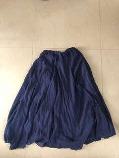Blue cotton linen skirt