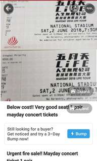 Current offer at 400!! Mayday concert ticket.