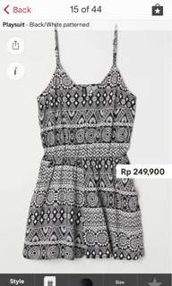 JASTIP H&M - Playsuit Black/White patterned