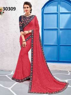 Preferable Georgette Embroidered Party Wear Saree