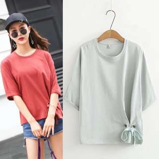 (XL~3XL) Summer bow simple half-sleeved shirt round collar pure color short-sleeved T-shirt