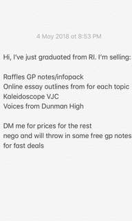 SELLING CHEAP RAFFLES GENERAL PAPER GP NOTES