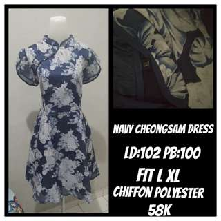 Dress Cheongsam Navy Fit L XL