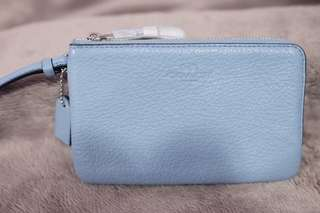 BNEW Coach Leather Double Zip Wristlet
