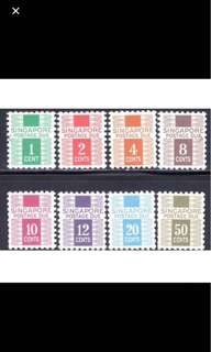 Singapore 1968 postage due stamps 8v set Mounted mint