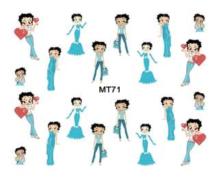 MT 71 2017 New Nail MT61-72 Mix 12 Designs Betty Boop Nail Art Water Transfer Decal Sticker Tattoo For Nail Art 1 Sheet