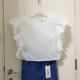 100% Cotton White Raffles Top